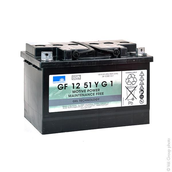 Batterie plomb traction SONNENSCHEIN GF-Y GF12051YG1 12V 51Ah M6-M